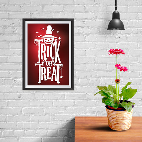 Ezposterprints - Trick Or Treat - Red Halloween Poster - 08x12 ambiance display photo sample