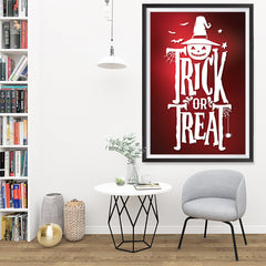 Ezposterprints - Trick Or Treat - Red Halloween Poster - 32x48 ambiance display photo sample
