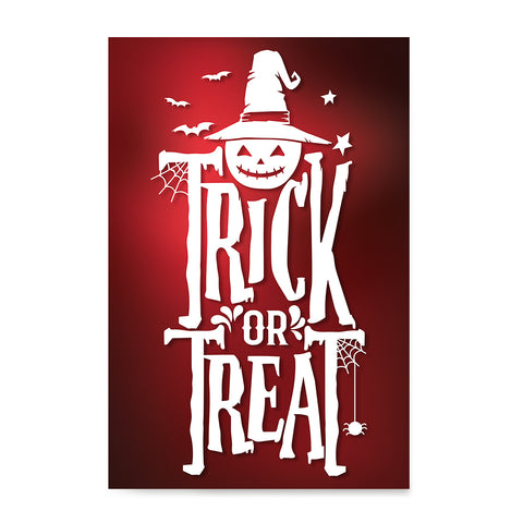 Ezposterprints - Trick Or Treat - Red Halloween Poster ambiance display photo sample