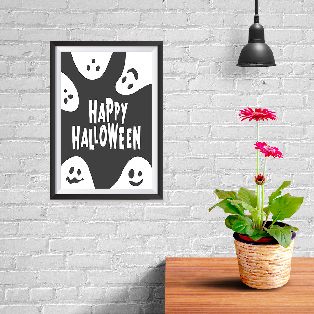 Ezposterprints - Ghosts - Black Halloween Poster - 08x12 ambiance display photo sample