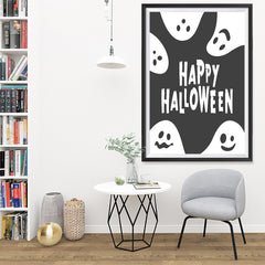 Ezposterprints - Ghosts - Black Halloween Poster - 32x48 ambiance display photo sample