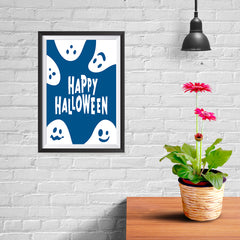 Ezposterprints - Ghosts - Blue Halloween Poster - 08x12 ambiance display photo sample