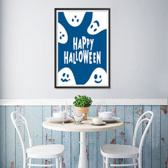 Ezposterprints - Ghosts - Blue Halloween Poster - 12x18 ambiance display photo sample