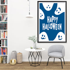 Ezposterprints - Ghosts - Blue Halloween Poster - 32x48 ambiance display photo sample