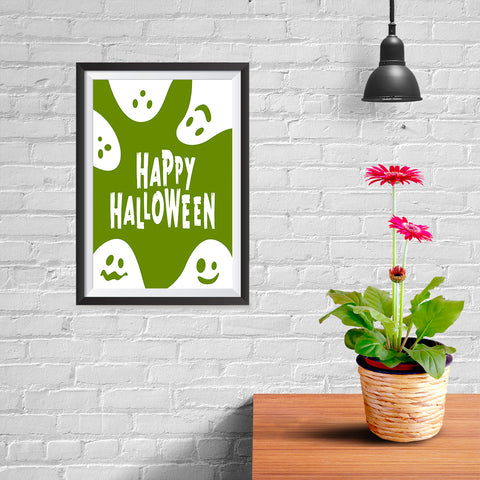 Ezposterprints - Ghosts - Green Halloween Poster - 08x12 ambiance display photo sample