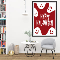 Ezposterprints - Ghosts - Red Halloween Poster - 32x48 ambiance display photo sample