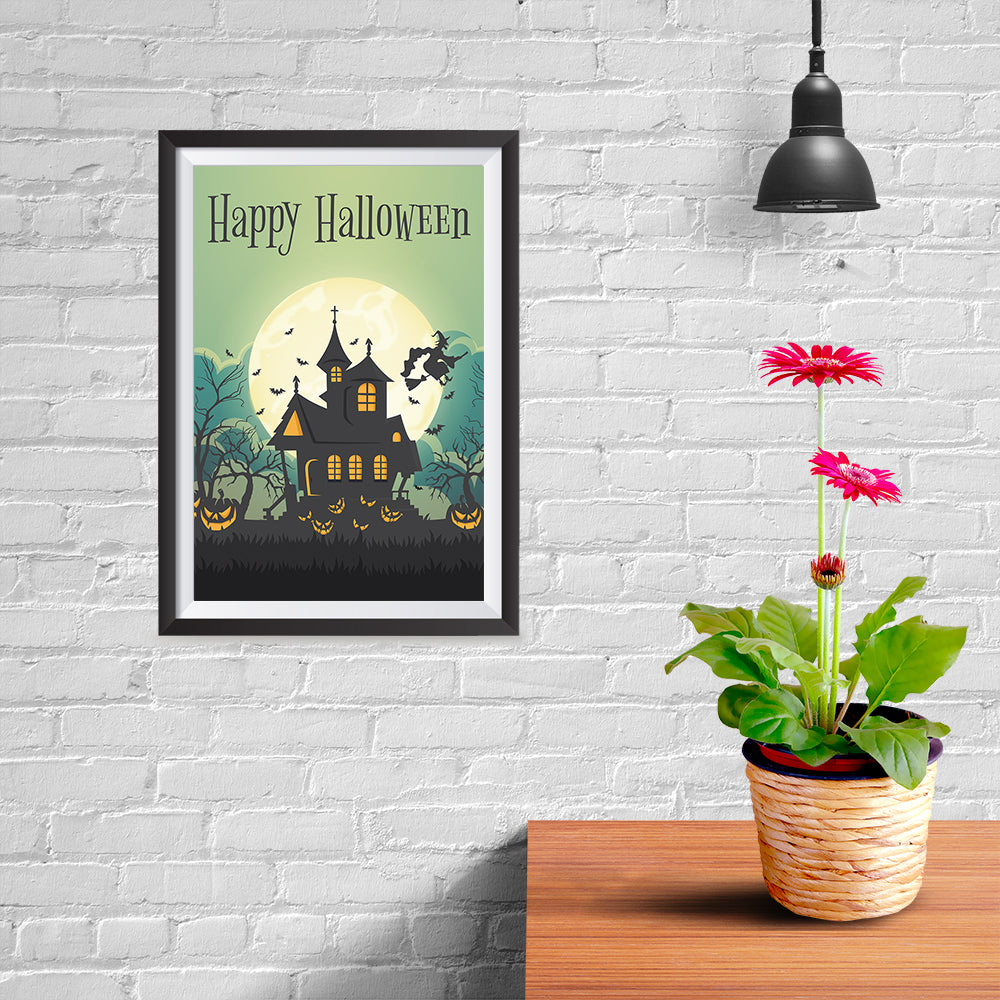 Ezposterprints - Green Moon Halloween Poster - 08x12 ambiance display photo sample