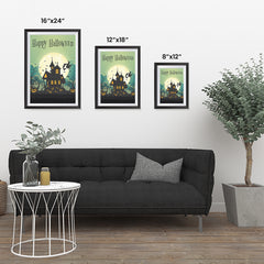 Ezposterprints - Green Moon Halloween Poster