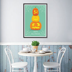Ezposterprints - Pumpkins On Green Halloween Poster - 12x18 ambiance display photo sample