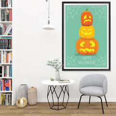 Ezposterprints - Pumpkins On Green Halloween Poster - 32x48 ambiance display photo sample