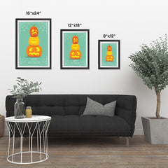Ezposterprints - Pumpkins On Green Halloween Poster