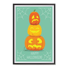 Ezposterprints - Pumpkins On Green Halloween Poster ambiance display photo sample