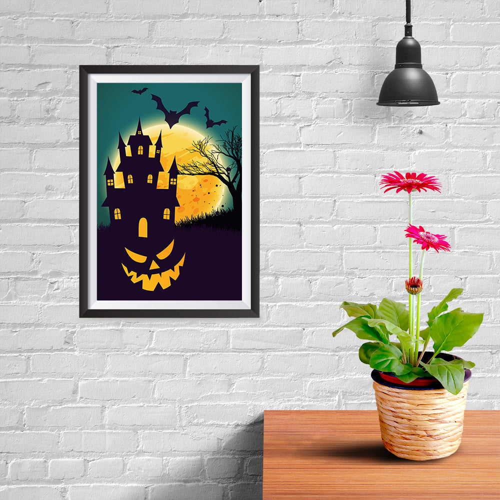 Ezposterprints - Smiling Pumpkin Halloween Poster - 08x12 ambiance display photo sample