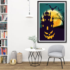 Ezposterprints - Smiling Pumpkin Halloween Poster - 32x48 ambiance display photo sample