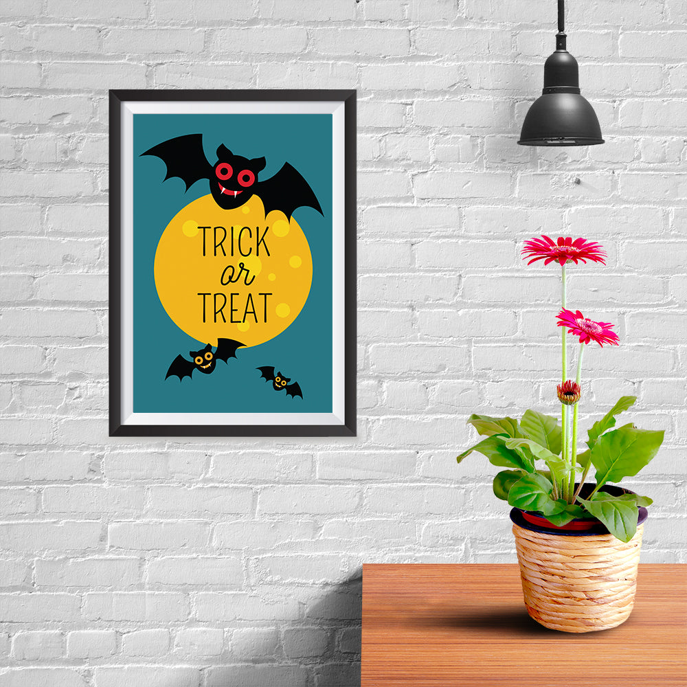 Ezposterprints - Trick Or Treat - Bats Halloween Poster - 08x12 ambiance display photo sample