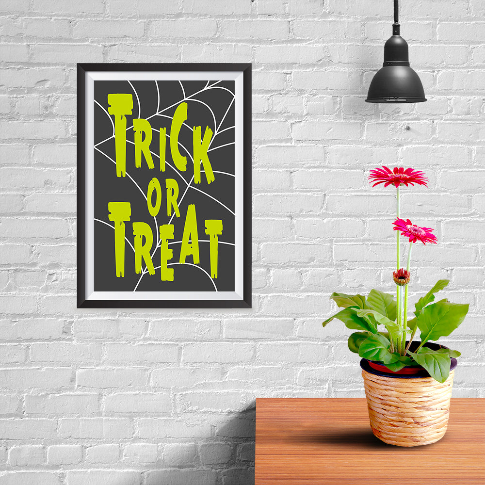 Ezposterprints - Trick Or Treat - Green Halloween Poster - 08x12 ambiance display photo sample