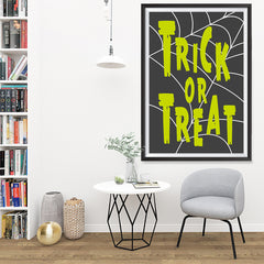 Ezposterprints - Trick Or Treat - Green Halloween Poster - 32x48 ambiance display photo sample