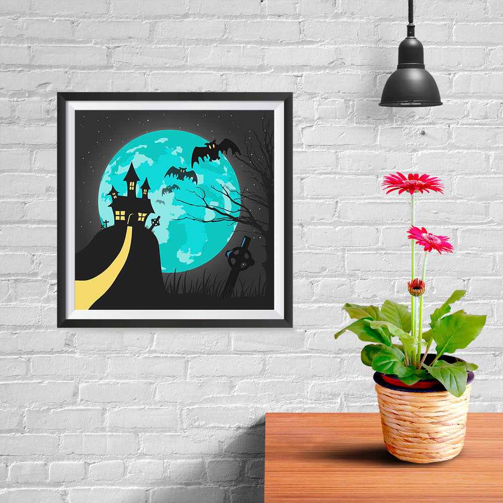 Ezposterprints - Blue Moon Halloween Poster - 10x10 ambiance display photo sample