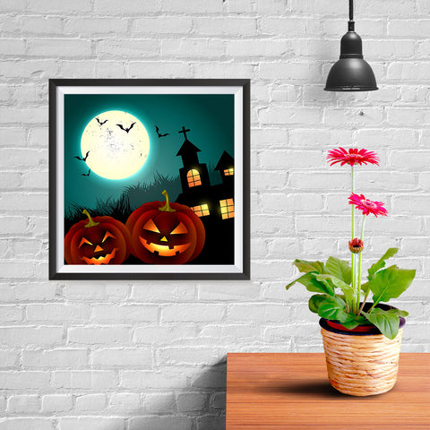 Ezposterprints - Blue Night Halloween Poster - 10x10 ambiance display photo sample