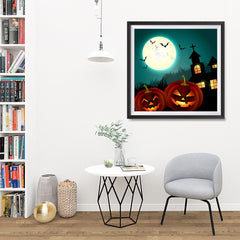Ezposterprints - Blue Night Halloween Poster - 32x32 ambiance display photo sample