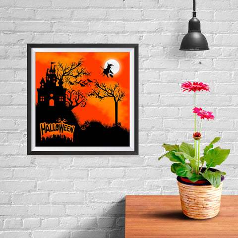 Ezposterprints - Flying Witch Halloween Poster - 10x10 ambiance display photo sample