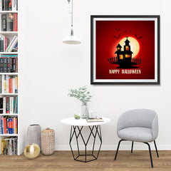 Ezposterprints - House and Moon Halloween Poster - 32x32 ambiance display photo sample