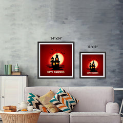Ezposterprints - House and Moon Halloween Poster ambiance display photo sample