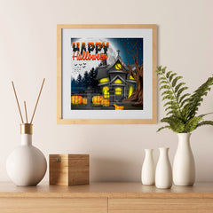 Ezposterprints - Lighted House Halloween Poster - 12x12 ambiance display photo sample