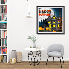 Ezposterprints - Lighted House Halloween Poster - 32x32 ambiance display photo sample