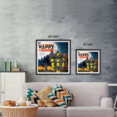 Ezposterprints - Lighted House Halloween Poster ambiance display photo sample