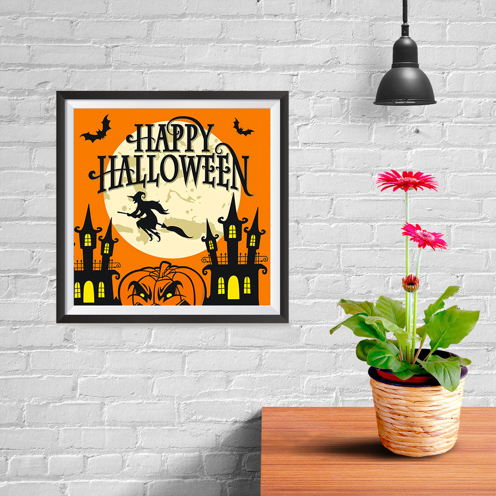 Ezposterprints - Moon and Witch Halloween Poster - 10x10 ambiance display photo sample