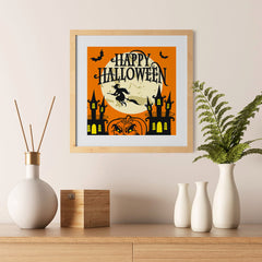 Ezposterprints - Moon and Witch Halloween Poster - 12x12 ambiance display photo sample