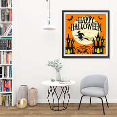 Ezposterprints - Moon and Witch Halloween Poster - 32x32 ambiance display photo sample