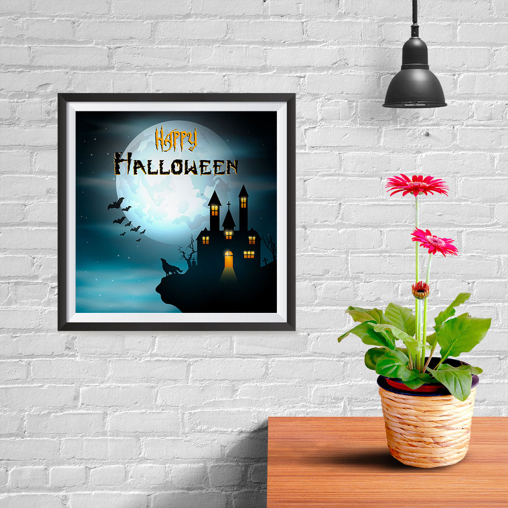 Ezposterprints - Wolf and Bats Halloween Poster - 10x10 ambiance display photo sample