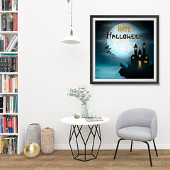 Ezposterprints - Wolf and Bats Halloween Poster - 32x32 ambiance display photo sample