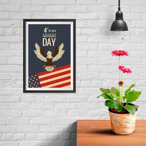 Ezposterprints - July IV Eagle - Retro | Independence Day 4th of July Posters - 08x12 ambiance display photo sample
