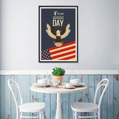 Ezposterprints - July IV Eagle - Retro | Independence Day 4th of July Posters - 12x18 ambiance display photo sample