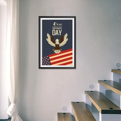 Ezposterprints - July IV Eagle - Retro | Independence Day 4th of July Posters - 16x24 ambiance display photo sample