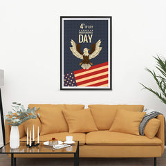 Ezposterprints - July IV Eagle - Retro | Independence Day 4th of July Posters - 24x36 ambiance display photo sample