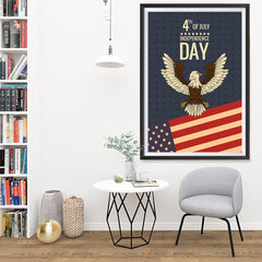 Ezposterprints - July IV Eagle - Retro | Independence Day 4th of July Posters - 32x48 ambiance display photo sample