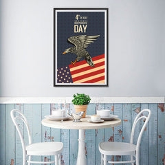 Ezposterprints - July IV Eagle 2 - Retro | Independence Day 4th of July Posters - 12x18 ambiance display photo sample