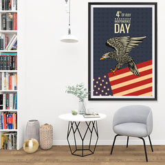 Ezposterprints - July IV Eagle 2 - Retro | Independence Day 4th of July Posters - 32x48 ambiance display photo sample