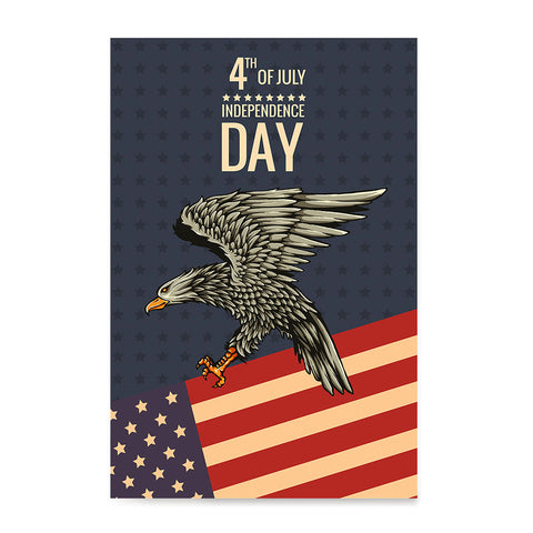 Ezposterprints - July IV Eagle 2 - Retro | Independence Day 4th of July Posters