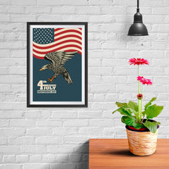 Ezposterprints - July IV Eagle 3 - Retro | Independence Day 4th of July Posters - 08x12 ambiance display photo sample