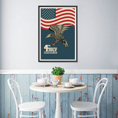 Ezposterprints - July IV Eagle 3 - Retro | Independence Day 4th of July Posters - 12x18 ambiance display photo sample
