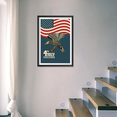 Ezposterprints - July IV Eagle 3 - Retro | Independence Day 4th of July Posters - 16x24 ambiance display photo sample