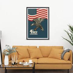Ezposterprints - July IV Eagle 3 - Retro | Independence Day 4th of July Posters - 24x36 ambiance display photo sample