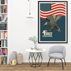 Ezposterprints - July IV Eagle 3 - Retro | Independence Day 4th of July Posters - 32x48 ambiance display photo sample