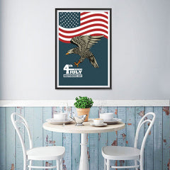 Ezposterprints - July IV Eagle 3 | Independence Day 4th of July Posters - 12x18 ambiance display photo sample
