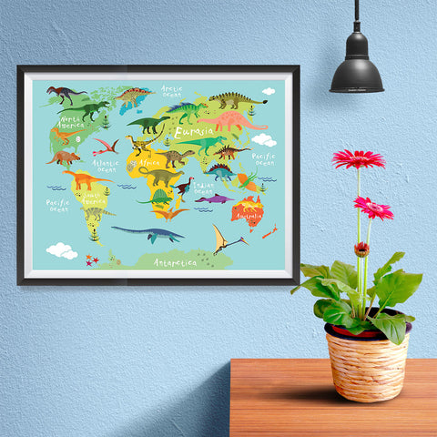 Ezposterprints - Kids' Dinosaurs World Map - 16x12 ambiance display photo sample